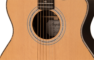 close-up image of PRS SE A40E body showing solid spruce top and ovangkol sides