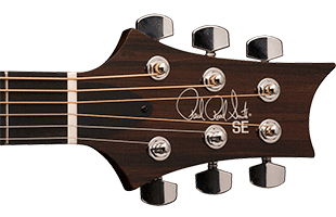 detail image of PRS SE A50E showing top of headstock
