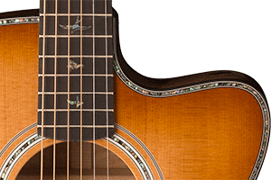detail image of PRS SE A50E showing Angelus cutaway