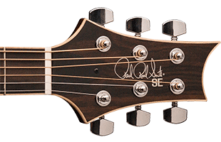 detail image of PRS SE A60E showing top of headstock