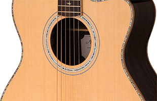 close-up image of PRS SE A60E body showing solid spruce top and maple sides