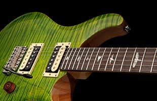 detail image of PRS SE Custom 24-08 showing rosewood fretboard with PRS bird inlays