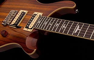 detail image of PRS SE Custom 24 showing maple top and mahogany edge
