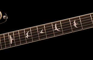 detail image of PRS SE Hollowbody Standard showing ebony fretboard and PRS bird inlays