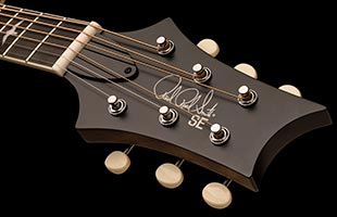 detail image of PRS SE P20 showing top of headstock