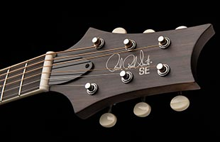 detail image of PRS SE P20E showing top of headstock
