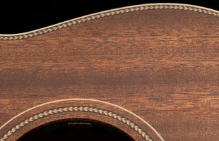 detail image of PRS SE P20E showing herringbone rosettes and accents
