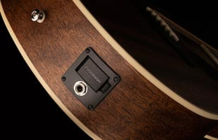 detail image of PRS SE P20E showing Fishman preamp output and battery cover
