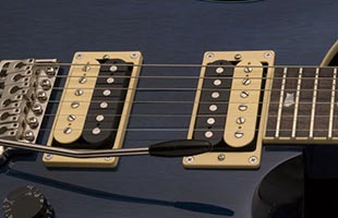 close-up view of PRS SE Standard 24 showing 58/15 S pickups
