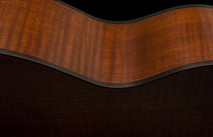 detail side view of PRS SE T50E showing maple back and sides