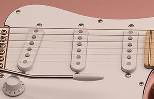 detail top view of PRS Silver Sky showing 635JM single-coil pickups
