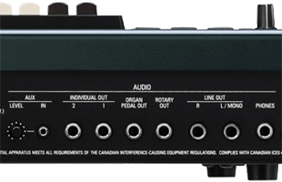 detail image of Hammond SK Pro rear panel connections showing audio outputs