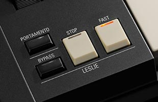 detail image of Hammond SK Pro showing Leslie control buttons
