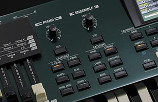 detail image of Hammond SK Pro control panel showing Piano and Ensemble sections