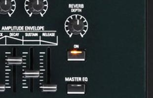 detail image of Hammond SK Pro control panel showing reverb controls
