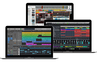collage image of three overlapping laptop computers running music recording software