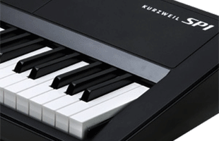 detail image of Kurzweil SP1 showing top octave of keybed and portion of top panel