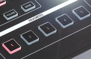 detail image of Kurzweil SP1 panel showing FAVORITES buttons