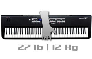 top view of Kurzweil SP1 with superimposed illustration of carrying hand and arm with legend showing 27 lb product weight
