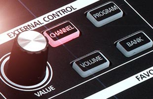 detail image of Kurzweil SP1 panel showing EXTERNAL CONTROL section