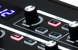 detail image of Kurzweil SP1 panel showing portion of LED display and PIANO control section
