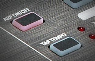 detail image of Kurzweil SP6-7 panel showing arpeggiator and tap tempo control buttons