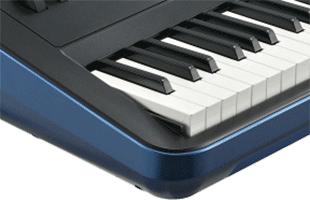 detail image of Kurzweil SP6 showing left side of keybed