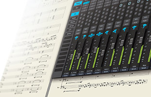 collage image showing traditional notation score sheet overlaid with PreSonus Notion software screen capture