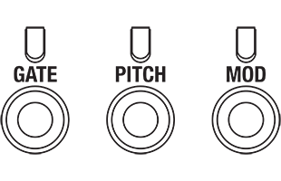illustration of Korg SQ-64 gate, pitch and mod output connectors