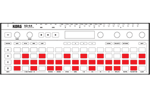 illustration of Korg SQ-64 with pads colored red to indicate Keys keyboard layout mode
