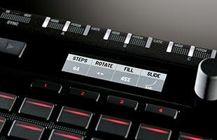 detail image of Korg SQ-64 showing OLED display