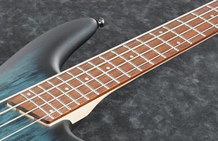 detail top view of Ibanez SR300E showing fingerboard
