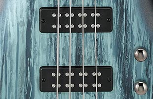 detail image of Ibanez SR300E showing PowerSpan Dual Coil pickups