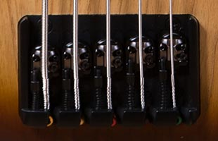 detail image of Ibanez SR655E showing Accu-cast B500 bridge