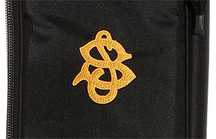detail image of Spector SSGB bass guitar gig bag showing embroidered Spector logo