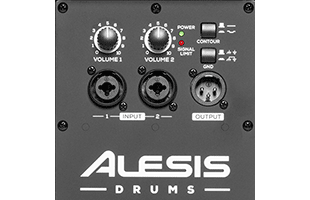 detail image of Alesis Strike Amp 8 rear panel showing controls and connections
