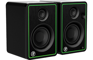 three-quarters view of Mackie CR3-X studio monitors showing front, right side and top