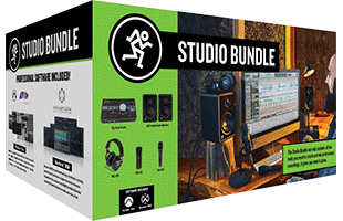 perspective view of Mackie Studio Bundle retail box showing front and left side