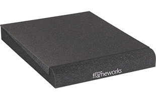 perspective view of a single Gator Frameworks GFW-ISOPAD-MD Studio Monitor Isolation Pad – Medium with included foam insert in flat configuration