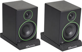 perspective view of studio monitors resting on Gator Frameworks GFW-ISOPAD-SM Studio Monitor Isolation Pads – Small with pads and included foam inserts configured at two different degrees of forward tilt