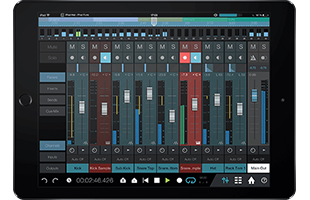 front view of mobile tablet computer running PreSonus Studio One Remote app