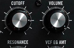 detail image of Moog Subharmonicon panel showing filter controls