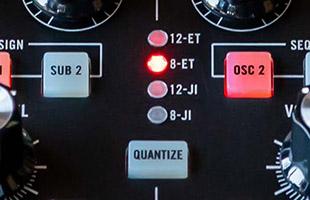 detail image of Moog Subharmonicon panel showing scale quantize controls