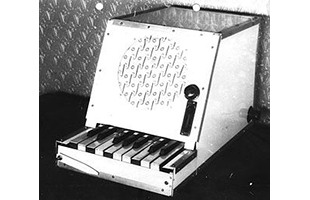 black and white 3/4 view image of Rhythmicon showing front, top and right side
