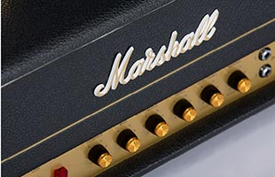 detail image from above of Marshall SV20H showing logo and knobs