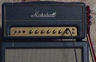 close-up front view of Marshall SV20H sitting on top of speaker cabinet