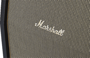 detail view from above and front of Marshall SV212 showing speaker grille and Marshall logo