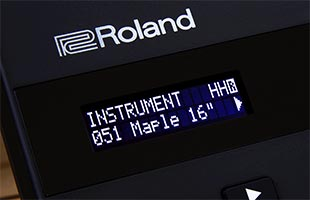 detail image of Roland TD-07 drum module screen showing instrument edit interface