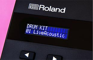 detail image of Roland TD-07 drum module screen showing kit selection interface