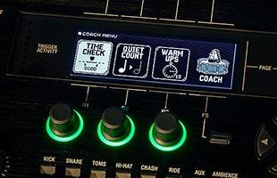 detail image of Roland TD-50X screen showing Coach mode training main menu